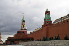 Spasskaya Tower, the Mausoleum of Lenin and Kremlin wall in Moscow. Stock Photo