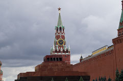 Spasskaya Tower, the Mausoleum of Lenin and Kremlin wall in Moscow. Royalty Free Stock Image
