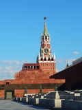 Spasskaya tower and Mausoleum in Red Square/. Spasskaya Tower  of the Kremlin  and Mausoleum in Red Square in Moscow. July, 2015 Royalty Free Stock Photography