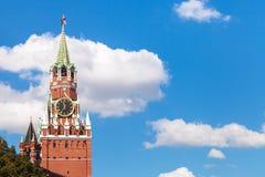 Spasskaya Tower of Moscow Kremlin and blue sky Stock Photos