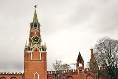 Spasskaya tower of Moscow Kremlin. Color photo Stock Photos