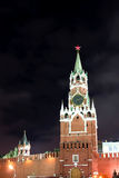 Spasskaya tower of Moscow Kremlin at night Stock Photography