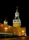 Spasskaya Tower of the Moscow Kremlin at night Stock Photography