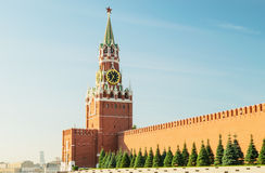 Spasskaya Tower of the Moscow Kremlin on Red Square. Russia. Stock Photos