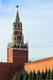 Spasskaya Tower of Moscow Kremlin on Red Square stock photos