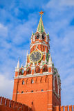 The Spasskaya Tower of the Moscow Kremlin. On sunny day, Russia. It was built in 1491 by the Italian architect Pietro Antonio Solari. It`s one of the symbols of Royalty Free Stock Photos