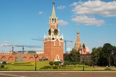 The Spasskaya Tower, Moscow. The Spasskaya Tower is the main tower with a through-passage on the eastern wall of the Moscow Kremlin, which overlooks the Red stock photo