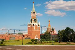 The Spasskaya Tower, Moscow. The Spasskaya Tower is the main tower with a through-passage on the eastern wall of the Moscow Kremlin, which overlooks the Red royalty free stock photo