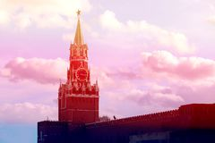 Spasskaya tower in Moscow on red square photographed close up stock photography