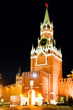 Spasskaya tower at night. Moscow Kremlin. Spasskaya tower with ruby star. Russia Royalty Free Stock Images