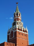Spasskaya tower in Red Square/. Spasskaya Tower of the Kremlin in Red Square in Moscow. July, 2015 royalty free stock images