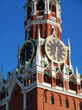 Spasskaya tower in Red Square/. Spasskaya Tower  of the Kremlin in Red Square in Moscow. July, 2015 Stock Image