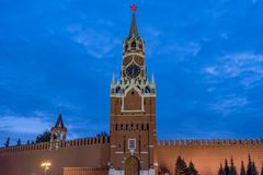 Spasskaya Tower at Red square in Moscow. Evening view of Spasskaya Tower at Red square in Moscow stock photo