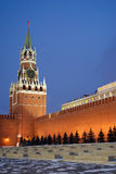 Spasskaya tower on Red Square in Moscow Russia win Stock Image