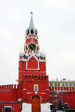 Spasskaya Tower (Saviors tower) in winter. Royalty Free Stock Images