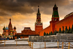 Spasskaya Tower and St. Basil's Cathedral on Red square. Moscow. Russia Royalty Free Stock Images