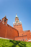 Spasskaya tower view from below with Kremlin wall Royalty Free Stock Photos