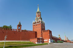 Spasskaya tower view during day with Kremlin wall Stock Image