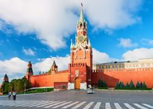 Spasskaya tower and walls of Kremlin in Moscow city. In Russia in the morning stock images