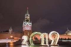 Spasskaya Tower and 2019. Winter Moscow before Christmas and New Year stock images
