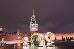Spasskaya Tower and 2019. Winter Moscow before Christmas and New Year royalty free stock photography