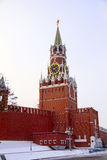 Spasskaya tower in winter Royalty Free Stock Images
