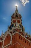 Spasskayatoren van Moskou het Kremlin Het symbool van de Russische Federatie Het belangrijkste vierkant van Moskou Stock Afbeelding
