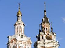 Spassky Cathedral of Zaikonospassky Monastery. On a sunny day Royalty Free Stock Photo