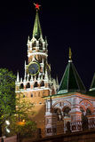 Spassky Tower of Moscow Kremlin at night. Royalty Free Stock Photography