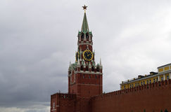 Spassky tower and the wall of the Moscow Kremlin. Royalty Free Stock Image