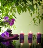Spastilleben med den zenstenar och orchiden Royaltyfri Bild