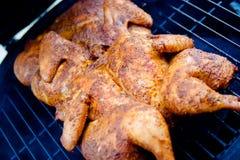 Spatchcocked Piec na grillu kurczaka Obrazy Stock