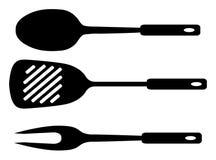 Spatel, gietlepel en vork. Stock Afbeelding