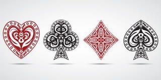 Spaten, Herzen, Diamanten, schlägt Pokerkartensymbol-Grauhintergrund mit einer Keule Lizenzfreie Stockfotografie