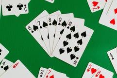 Spaten sechs des geraden Errötens sieben acht neun zehn, Pokerkarte stockfotografie