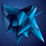 Spatial  blue digital object, 3d technology figure with ge Stock Photography