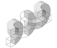 Spatial paradox, Esher`s infinite staircase principle. Isometric arched shapes. Stock Photo