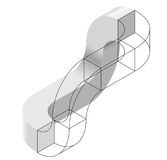 Spatial paradox, Esher`s infinite staircase principle. Isometric arched shapes. Spatial paradox, Esher`s infinite staircase principle. Isometric arched shapes Stock Photo