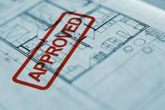 Spatial planning. Close up of spatial planning blueprint, architecture background Royalty Free Stock Images