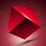 Spatial red squared technological shape, ruby wireframe object p Stock Photos
