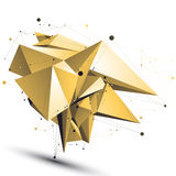 Spatial shiny technological shape with wire mesh, polygonal gold Stock Image