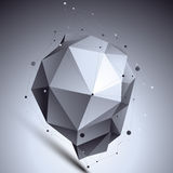 Spatial technological asymmetric shape, polygonal Royalty Free Stock Image