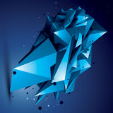 Spatial technological bright shape, polygonal colorful wireframe object. stock illustration