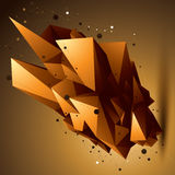 Spatial technological golden shape, polygonal bright object Royalty Free Stock Photos