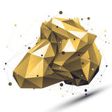 Spatial technological shape with wire mesh, polygonal gold cyber Stock Images