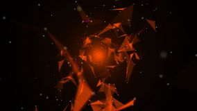 Through the spatial triangles. Space background of dots, lines. 3d rendering stock video