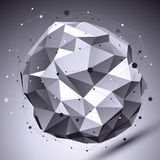 Spatial vector monochrome digital eps8 backdrop, dimensional con. Trast technology spherical element with wireframe placed over shaded background Royalty Free Stock Photos