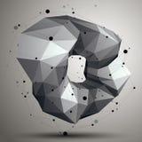 Spatial vector monochrome digital object, 3d technology figure w Stock Images