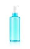 Spatie die transparante blauwe kosmetische pompfles verpakken Royalty-vrije Stock Foto's