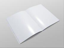 Spatie geopende brochure op grijze achtergrond stock afbeelding